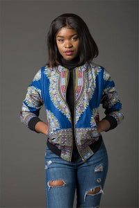 Fashion Coat African Clothes Dashiki Print Tribal Sexy Jacket Ladies Bomber Zip Pocket Sweatshirt - Chocolate Boy Ltd