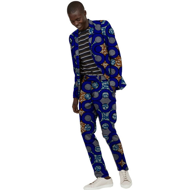 African Suits Men Print Casual Blazers For Wedding Ankara Fashion Pant Suits - Chocolate Boy Ltd