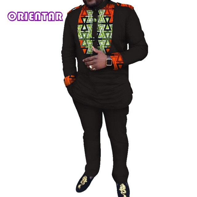 Casual Men African Clothes African Print Shirt and Pants Long Sleeve T Shirt Men Suits Dashiki - Chocolate Boy Ltd