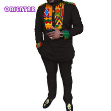 Load image into Gallery viewer, Casual Men African Clothes African Print Shirt and Pants Long Sleeve T Shirt Men Suits Dashiki - Chocolate Boy Ltd