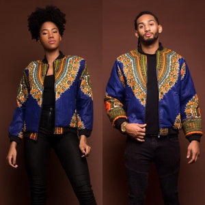 Adult Unisex African Dashiki Traditional Tribal Ankara Print Coat Zip Up Non-Hooded Sweatshirt Jacket Casual