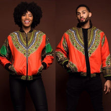 Load image into Gallery viewer, Adult Unisex African Dashiki Traditional Tribal Ankara Print Coat Zip Up Non-Hooded Sweatshirt Jacket Casual