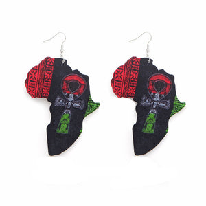 Earring Wood African Map Beauty Black Queen Traditional Tribal Earrings Vintage Afro Jewelry Wooden DIY Party Accessory
