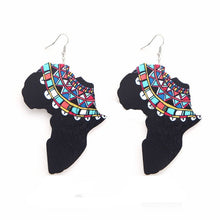 Load image into Gallery viewer, Earring Wood African Map Beauty Black Queen Traditional Tribal Earrings Vintage Afro Jewelry Wooden DIY Party Accessory