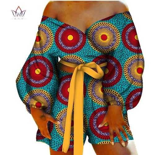 Women Sexy Bow-tie Top and Short Pants Sets Bazin Riche African Clothes 2 Pieces Pants Sets Dashiki Women