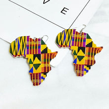 Load image into Gallery viewer, African Map Outline Printed Stripes Afro Earrings Vintage Traditional Tribal Jewelry Wooden Accessories