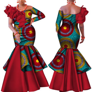 Danshiki Africa Dress for Women Bazin Riche one-shoulder Sexy Slash Neck Wedding Party Dress