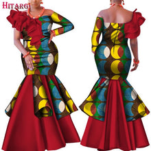 Load image into Gallery viewer, Danshiki Africa Dress for Women Bazin Riche one-shoulder Sexy Slash Neck Wedding Party Dress