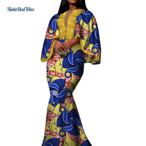 Autumn African Print Long Dresses for Women Bazin Riche Cotton Ruffles Sleeve Dresses