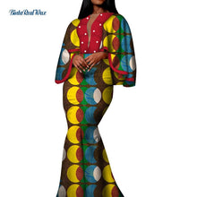Load image into Gallery viewer, Autumn African Print Long Dresses for Women Bazin Riche Cotton Ruffles Sleeve Dresses