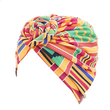 Load image into Gallery viewer, Women Tie Turban Hat Cotton Top Knot Traditional Tribal African Ankara Print Twist Headwrap Ladies Hair Accessories
