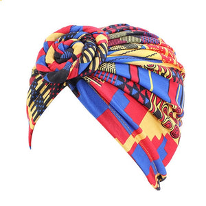 Women Tie Turban Hat Cotton Top Knot Traditional Tribal African Ankara Print Twist Headwrap Ladies Hair Accessories
