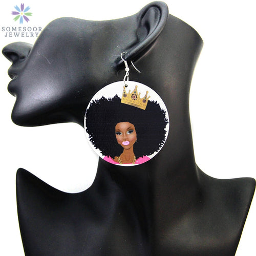 African Queen Crown Painted Wood Earrings Black Women Jewelry Accessories