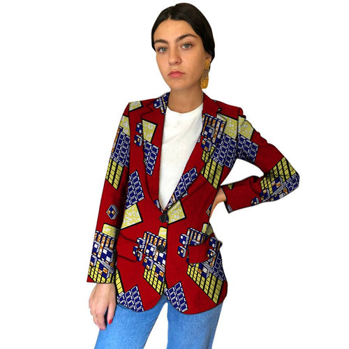 African Clothing Fashion Traditional Tribal Print Women Blazers Female Dashiki Blazer For Ladies
