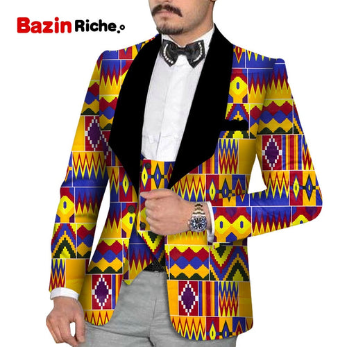 Men's Slim Fashion Party Wedding African Traditional Tribal Clothing Printed Dashiki Jacket