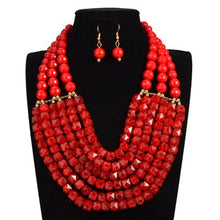 Load image into Gallery viewer, Handmade Braid Jewellry Sets Fashion Necklace For Women Nigeria Bridal Wedding African Beads