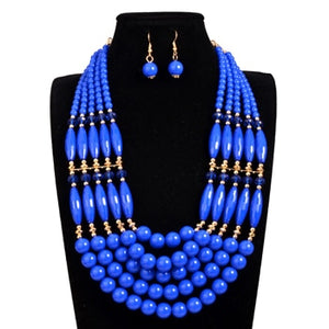 Handmade Braid Jewellry Sets Fashion Necklace For Women Nigeria Bridal Wedding African Beads - Chocolate Boy Ltd