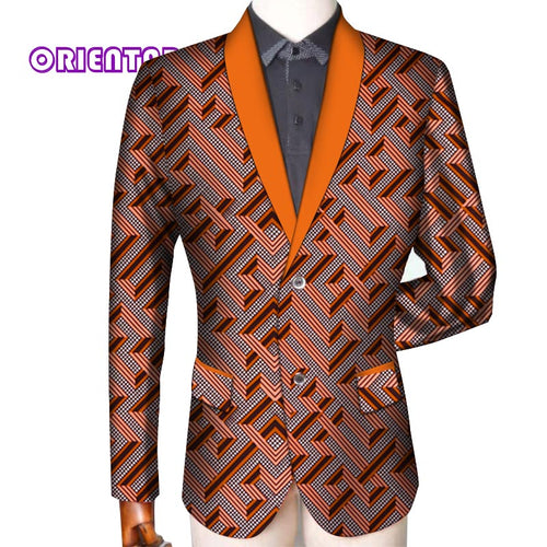 Traditional Men African Clothes Business Suit Coat African Print Slim Fit Jacket Blazer Long Sleeve - Chocolate Boy Ltd