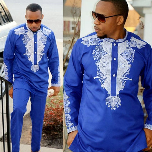 Dashiki Men's Blue 2 Piece Outfit African Clothes Dashiki Shirt With Trouser