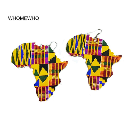 African Map Outline Printed Stripes Afro Earrings Vintage Traditional Tribal Jewelry Wooden Accessories