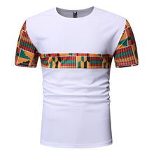 Load image into Gallery viewer, Black Patchwork African Dashiki T Shirt Men Short Sleeve African Clothes Streetwear Casual - Chocolate Boy Ltd