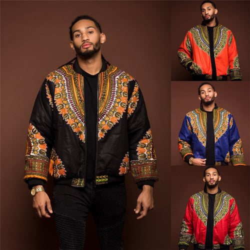 African Men Jacket Rich Long Sleeve Fashion African Print Traditional Tribal Dashiki Retro Coat for Male Clothing S-XL