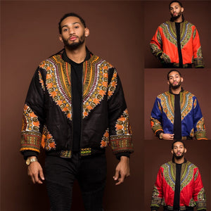 African Men Jacket Print Rich Long Sleeve Fashion Africa Traditional Dashiki Retro Coat for Male Clothing S-XL - Chocolate Boy Ltd