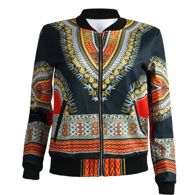 African Print Jacket Women Dashiki Long Sleeve Casual Jacket