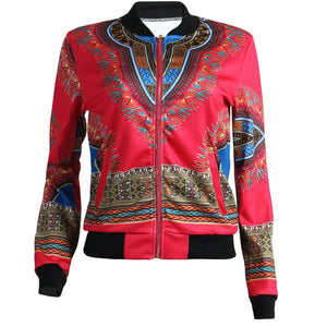 African Print Jacket Women Dashiki Long Sleeve Casual Jacket - Chocolate Boy Ltd