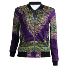 Load image into Gallery viewer, African Print Jacket Women Dashiki Long Sleeve Casual Jacket - Chocolate Boy Ltd