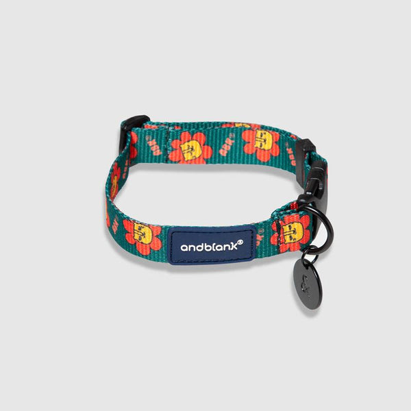 andblank Flower Lion Pet Collar - Green - CreatureLand