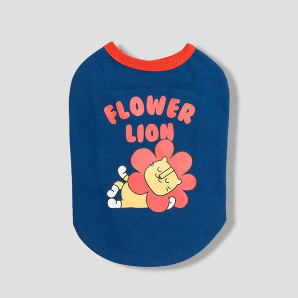 andblank Flower Lion Sleeveless Shirt - Navy - CreatureLand