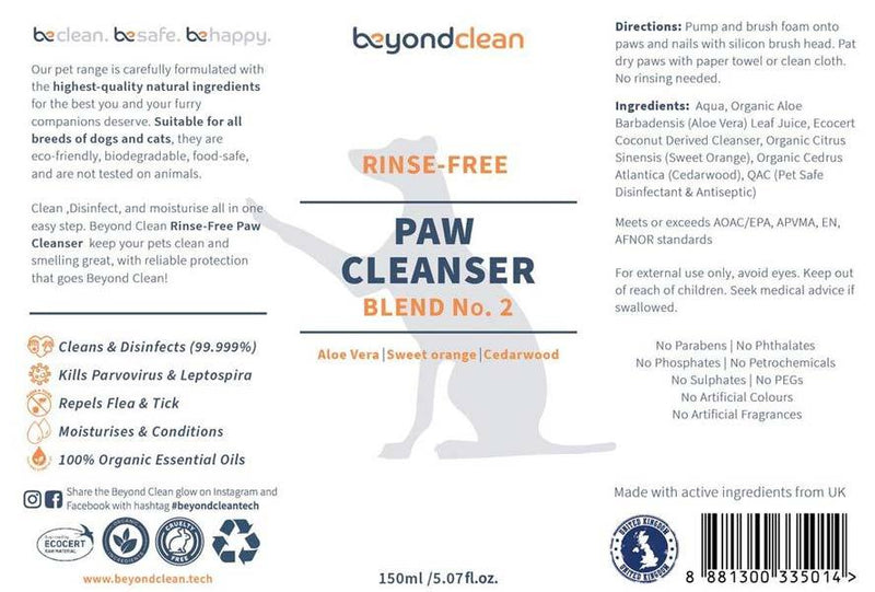 Beyond Clean Rinse-Free Paw Cleanser Blend No. 2 - Organic Sweet Orange & Cedarwood - CreatureLand