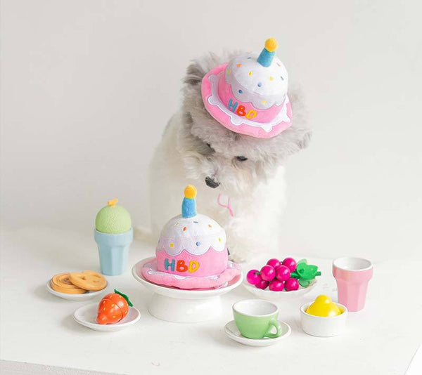 Bite Me Party Hat Plush Dog Toy - CreatureLand