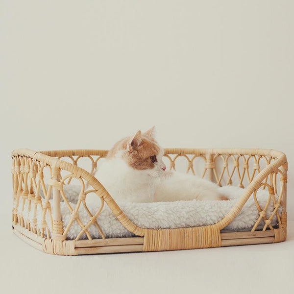CatsCity Rattan Weave Pet Bed - CreatureLand