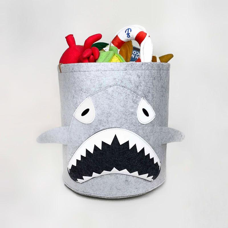 CreatureLand Felt Toy Storage Basket - Shark - CreatureLand