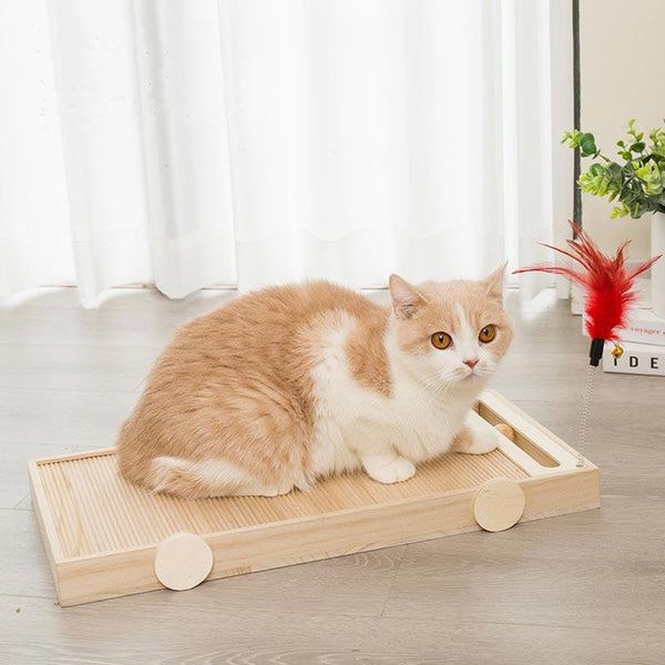 CreatureLand Wooden Cart Cat Scratcher - CreatureLand