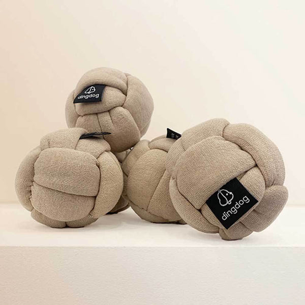 Ding Dog Mocha Knotted Toy Ball - CreatureLand