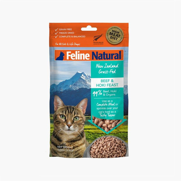 Feline Natural Feline Freeze Dried Beef & Hoki Topper (100g) - CreatureLand