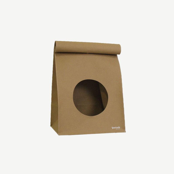 Gotta Go Home Vegan Leather Bread Bag Cat House with Scratcher - Camel - CreatureLand
