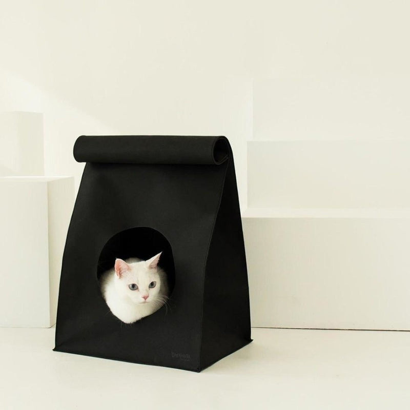 Gotta Go Home Vegan Leather Bread Bag Cat House with Scratcher - Matte Black - CreatureLand