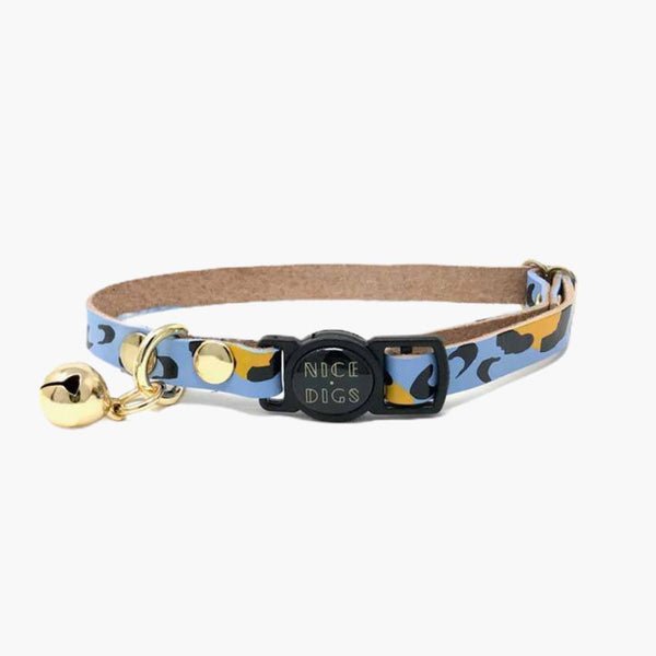 Nice Digs ANIMAL LEATHER CAT COLLAR - SKY - CreatureLand