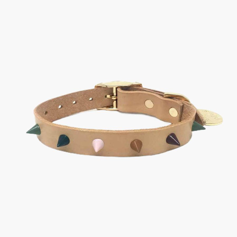 Nice Digs SPIKE LEATHER DOG COLLAR -FOREST TAN - CreatureLand