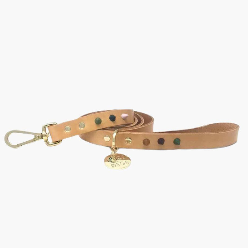 Nice Digs SPIKE LEATHER DOG LEASH - FOREST TAN - CreatureLand