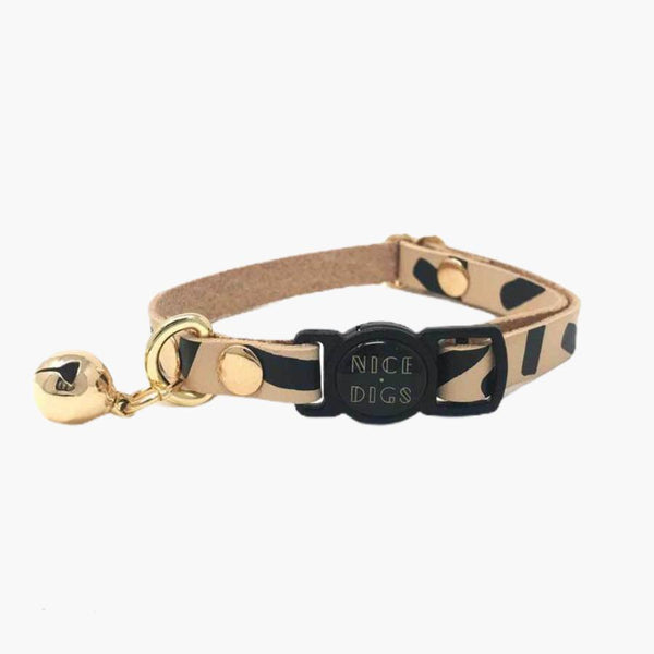 Nice Digs TIGGY LEATHER CAT COLLAR - BLACK - CreatureLand