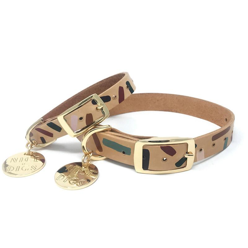 Nice Digs TIGGY LEATHER DOG COLLAR - FOREST - CreatureLand