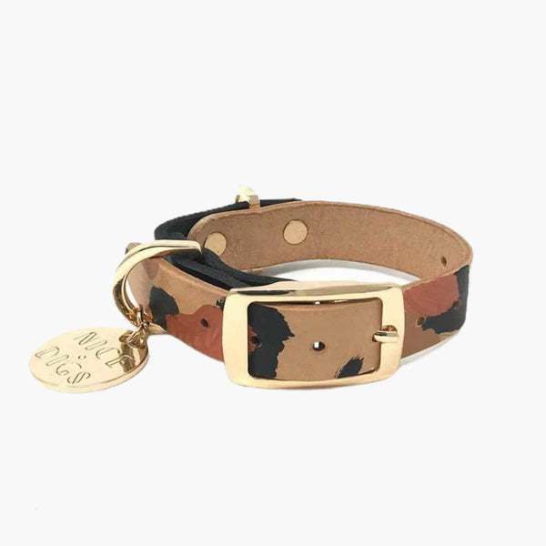 Nice Digs TWO TONE DOG COLLAR - TAN ANIMAL - CreatureLand
