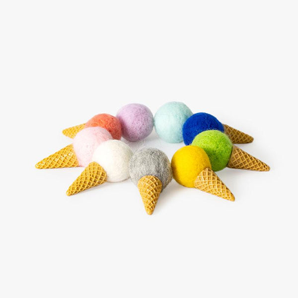 OCE Mini Ice Cream Cone Felt Cat Toy (Set of 9) - CreatureLand