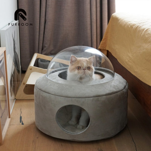 Purroom Spacecraft Pet Bed - Light Grey - CreatureLand