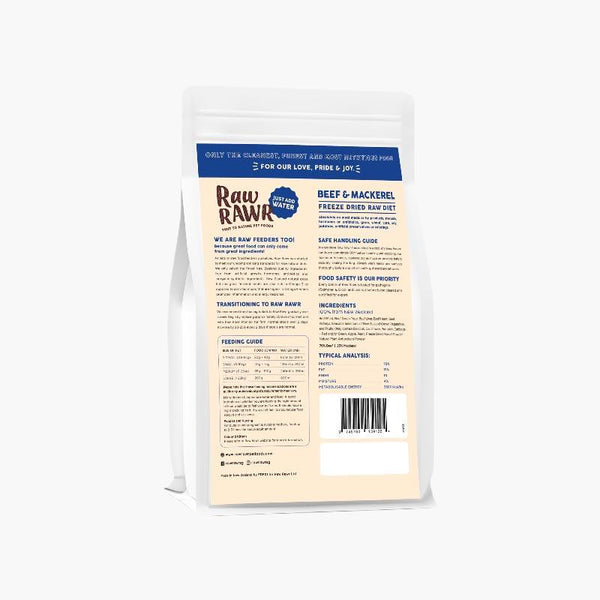 Raw Rawr 10% OFF: Freeze Dried Raw Diet - Beef & Mackerel (2 Sizes) - CreatureLand